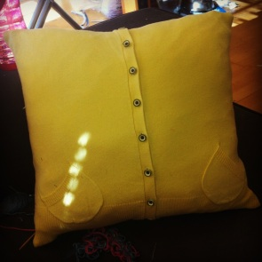 Old pillow + old sweater = new couch decoration.