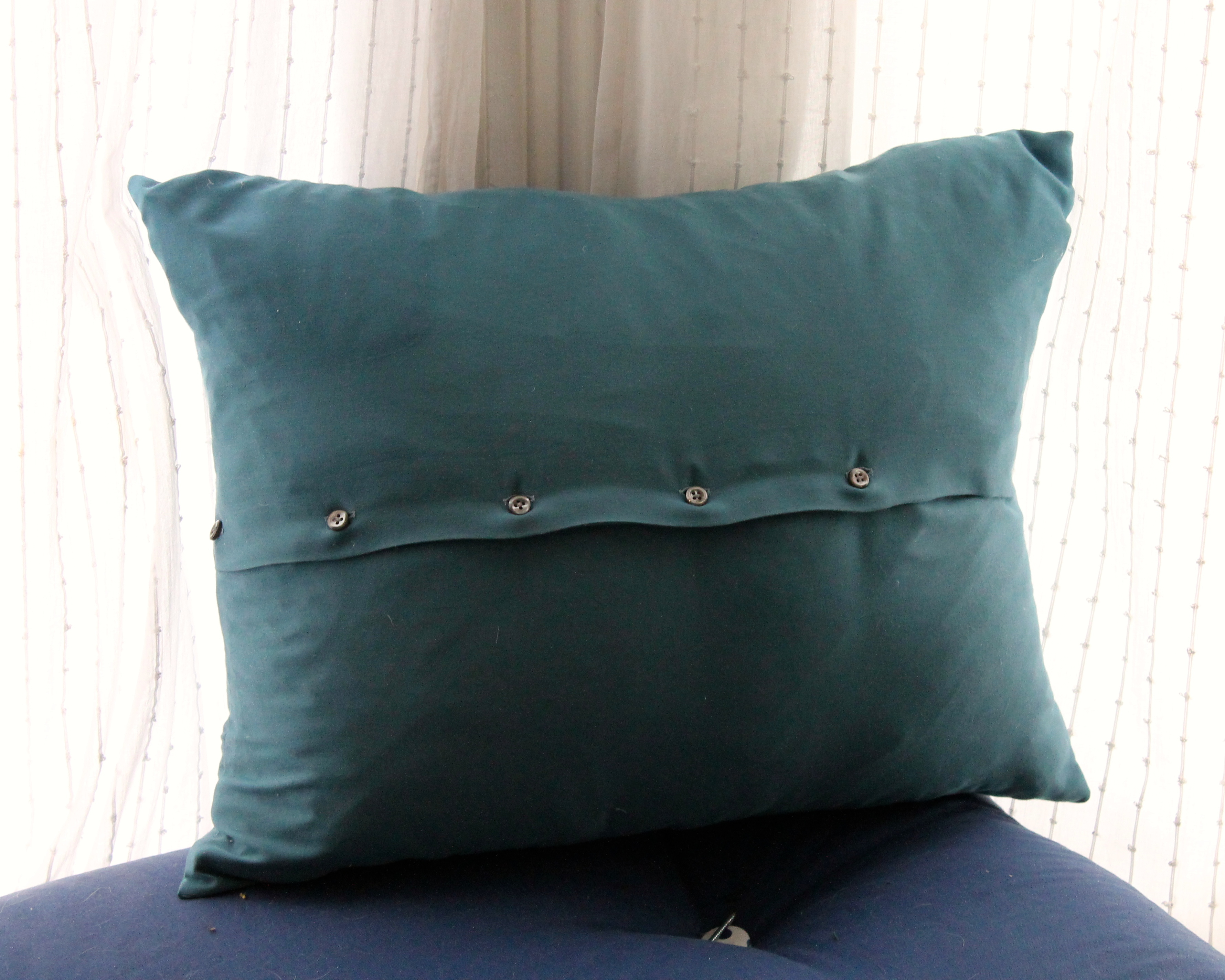 Enjoyable Couch Pillow From A Button Down Shirt Measured And Slow Caraccident5 Cool Chair Designs And Ideas Caraccident5Info