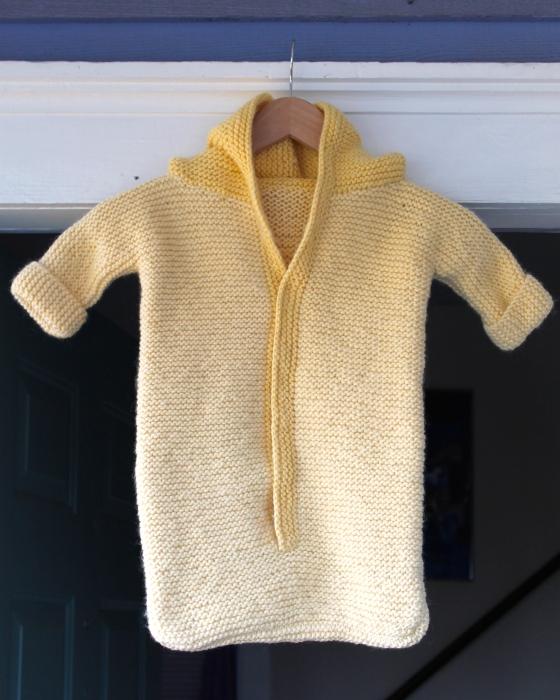 Baby sleep sack made from yellow wool