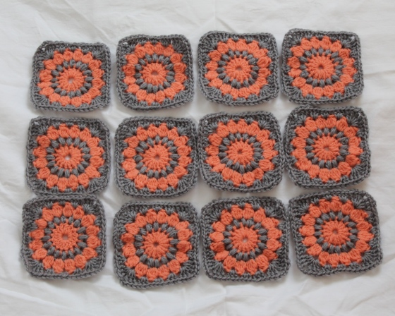 Coral and gray granny squares