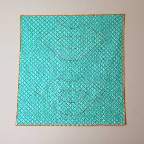 Back of Andy Warhol/Roy Lichtenstein quilt with outlined lips