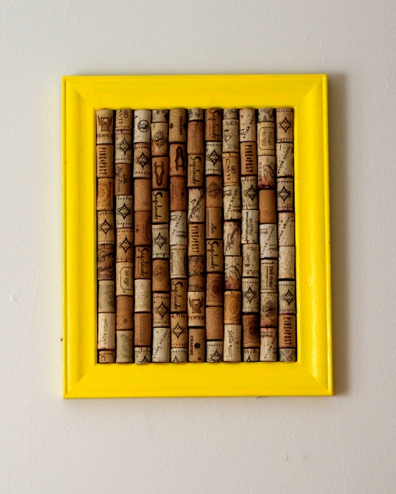 Finished wine cork bulletin board, frame painted yellow