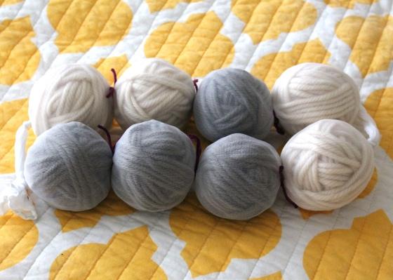 Balls of wool yarn in panty hose