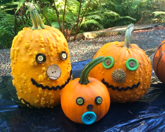 Pumpkins with button faces
