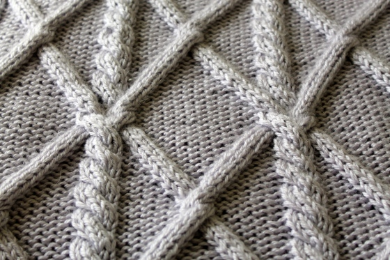 Close up of lavender knit blanket with cables