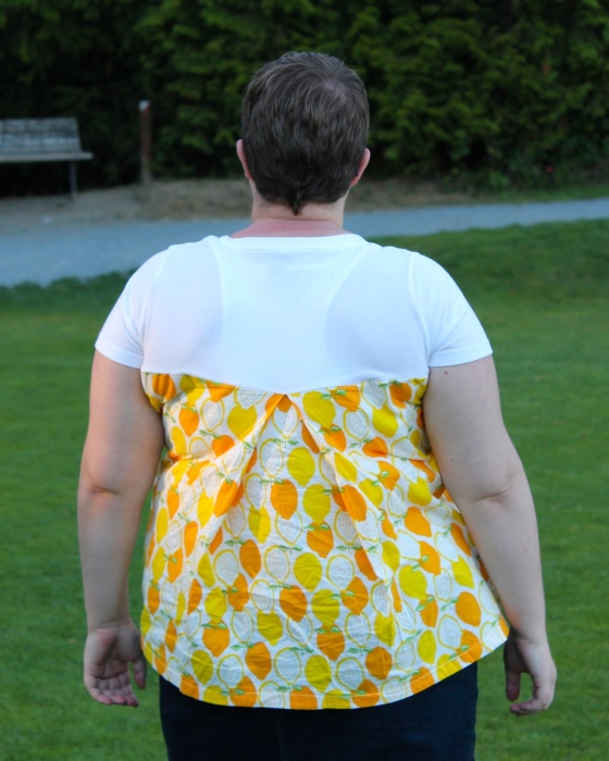 DIY anthropologie knockoff shirt with lemon fabric and white t-shirt