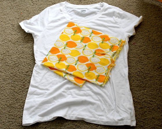 White t-shirt and lemon fabric