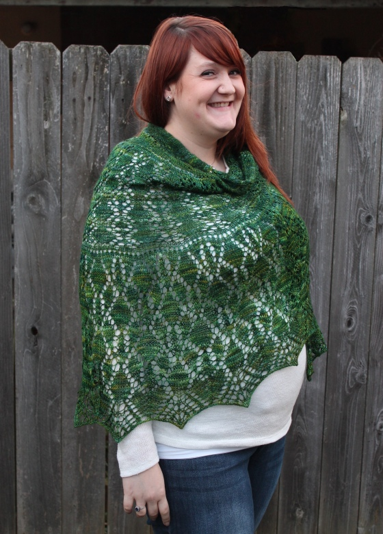 Girl with red hair wearing green Lacy Shawl