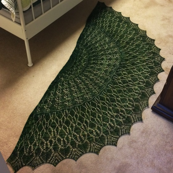 Green lace shawl blocking