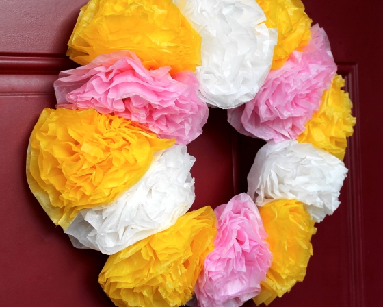 Yellow, white, and pink tissue paper spring wreath