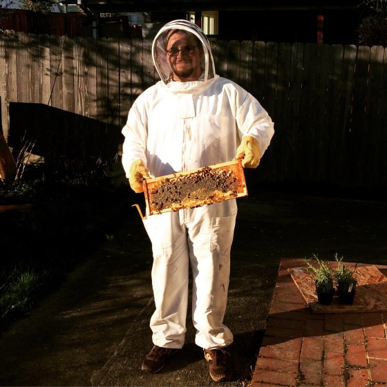 Man in bee suit holding frame of honey