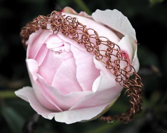 Copper Green Beads Bracelet 1