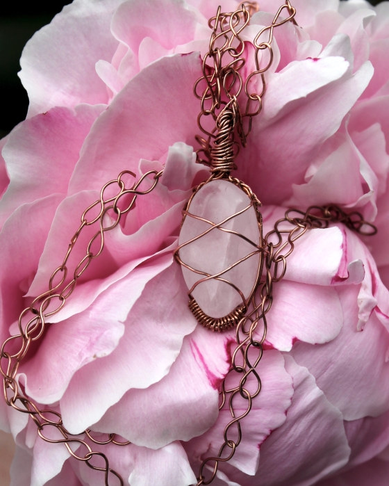 Copper White Quartz necklace