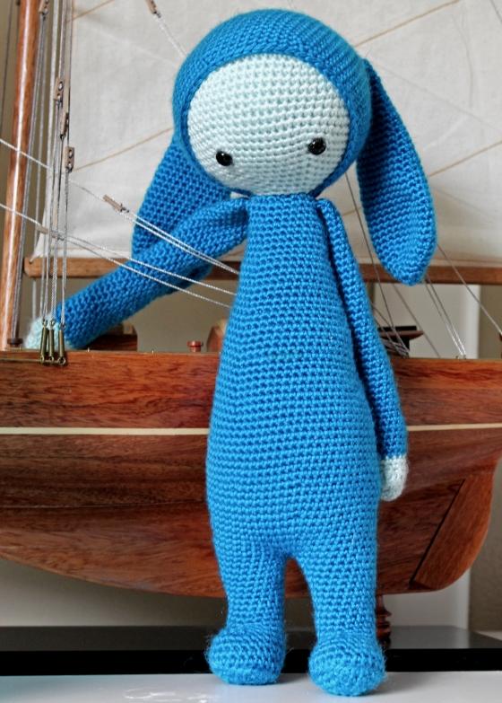 Lalylala Rita the rabbit blue yarn with sail boat