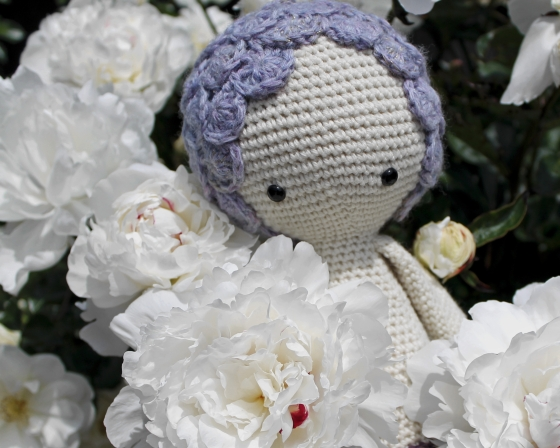 Purple Lalylala Mici the Mermaid in bunch of white peonies