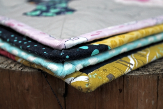 Close up of scrappy quilt binding