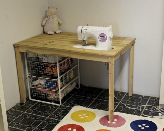 Sunken sewing table