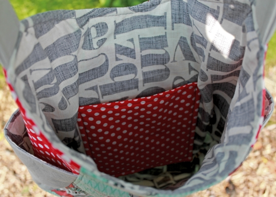 Inside of 241 Tote with letterpress by Michael Miller fabric
