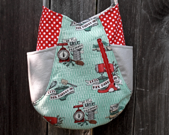 Aqua and red and white polka dots 241 Tote by Noodlehead