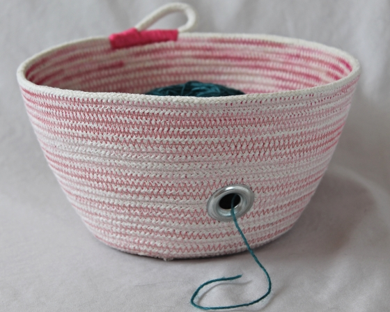 Pink yarn bowl, rope basket
