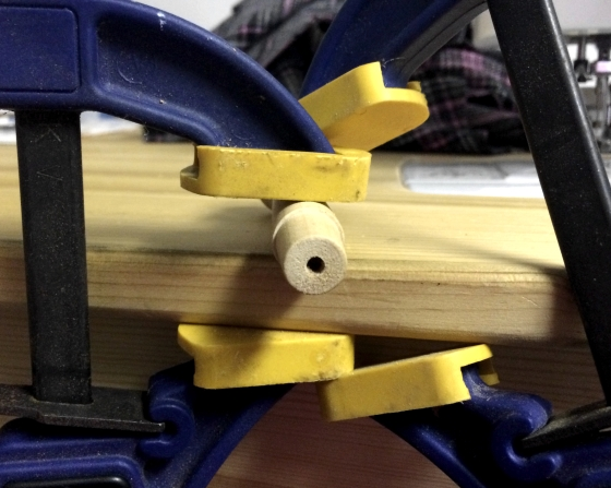 Putting a pilot hole in a wooden peg